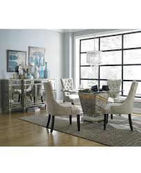Furniture Marais Dining Room 7 Piece Set 60 Mirrored Table And 6 Chairs