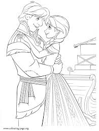 Anna And Kristoff Hugging Each Other Coloring Page