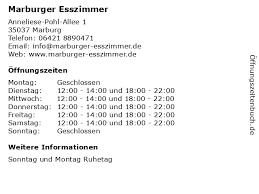 ᐅ öffnungszeiten marburger esszimmer anneliese pohl
