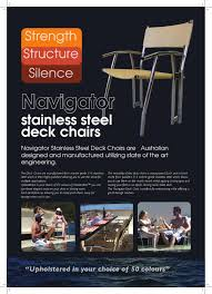 Navogator Deck Chair By Offshore Marine Technology - Issuu Folding Model M100nb Forma Ltd Alinium Marine Deck Chair Two West Marine Alinum Cushion Chairs Bloodydecks Boat Chairs Tables Relaxn White Amazoncom Exclusive Sea Fniture Hdware Yacht Deck Seating Guide Gear Deluxe 623191 Fishing Sportaseat The Original Portable And Adjustable Seat Made In The White Blue Strips Word Stock Photo Edit Now 1102256972 Directors Outdoor Timber Side Slats Furlicious