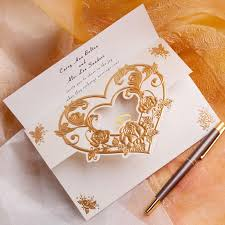 Embossed Heart Gold Fall Wedding Invitations