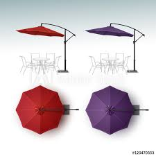 Vector Set Of Red Violet Purple Blank Patio Outdoor Beach Cafe Bar Pub Lounge Restaurant Round