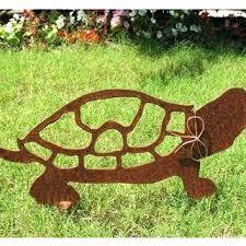Metal Garden Art Turtle Stake Yard Rustic Rusty