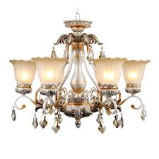 6 Light Glass Shade Simple Chandeliers For Bedroom