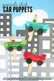100 Cars And Trucks And Things That Go Popsicle Stick Car Puppets Kid Craft