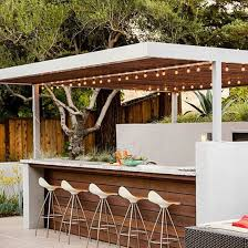 Modern Backyard Bar With String Lights - Relaxing Outdoor Backyard ... 23 Creative Outdoor Wet Bar Design Ideas Backyards Stupendous Designs Kitchen Pictures 91 Backyard Bbq The Ritzcarlton Lake Tahoe 3pc Wicker Set Patio Table 2 Stools Rattan Budget For Small Triyaecom And Grill Various Design Inspiration You Must Try At Your Decorations For Shelves In Living Room Outside U0026 Garden U003e Tips Expert Advice Hgtv
