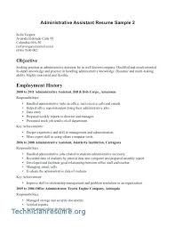 Resume Objective Office Assistant Medical Administrative For