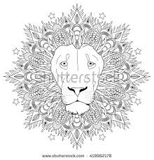 Coloring Page Mandala Lion Head Animal Stock Vector 419982178