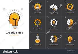 icons set brain light bulb human stock vector 667061341