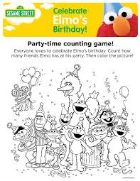 Elmos Birthday Party Time Counting Game Be Cute To Print Out One Character And Sesame Street