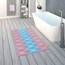 badematte kurzflor teppich für badezimmer kariert in pastell blau rosa