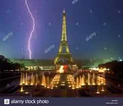 Lightning Bolt And Storm Over Paris At Night With Eiffel Tower Palais De Chaillot Fountains Real Photo Not Shopped
