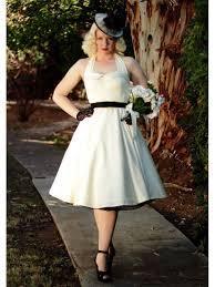 50s Style Ivory Sateen Halter Tea Length Wedding Dress