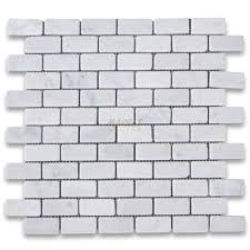 carrara white 1x2 medium brick mosaic tile tumbled marble from