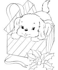 Cute Dog Coloring Pages Free Printable For Kids Christmas