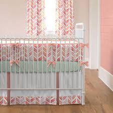 Coral Watercolor Herringbone Crib Bedding