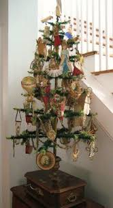Vintage Feather Tree With Paper Ornaments Love This Tabletop