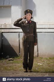 North Korean Female Soldier Saluting South Pyongan Province Chonsam Cooperative Farm Korea