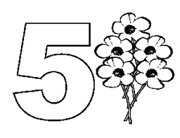 Learn Number 5 With Five Flowers Coloring Page