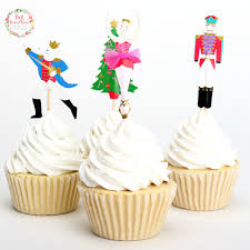 24pcs Christmas Tree Toppers Picks Cupcake Topper Baby Shower Supplies Kids Birthday Party Cake Baking