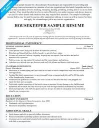 Private Housekeeper Resume Objective Housekeepers Images Free Sample