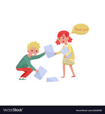 Smiling Boy Helping Girl To Picking Up Paper From Vector Image