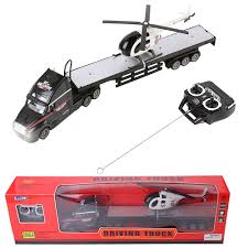 100 Remote Control Semi Truck Black RC Big Trailer Helicopter Kids Toy