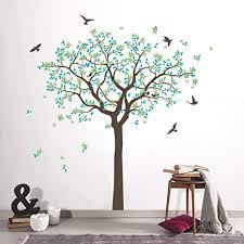 decalmile wandtattoo groß baum grün wandaufkleber familie baum vögel wandsticker schlafzimmer wohnzimmer sofa hintergrund büro wanddeko h 160 cm