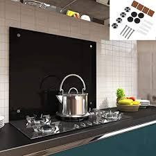 melko spritzschutz herdblende aus glas für küche herd fliesen 6 mm esg sicherheitsglas küchenrückwand inkl schrauben 70 x 50 cm schwarz