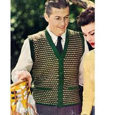 mens checkered cardigan vest pattern size 38 40 42