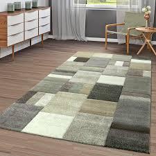 moderner kurzflor teppich wohnzimmer konturenschnitt kariert