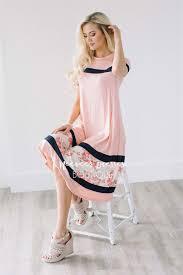 pink navy floral cute modest dress modest dress for nursing