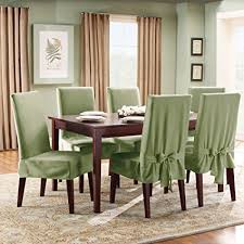 Sure Fit SF33073 Cotton Duck Fabric Short Dining Room Chair Slipcover Sage
