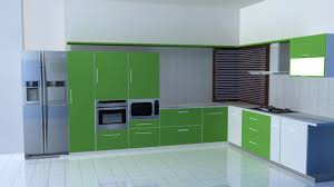 KitchenAmusing Lime Green Contemporary Kitchen With L Shaped Layout And Built In Appliance Amusing