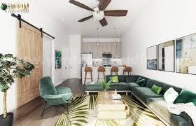 open plan interior design for modern kitchen living room