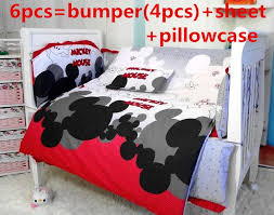 6pcs mickey mouse baby product baby crib bedding set baby product