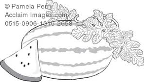 Black and White Clip Art Illustration of a Watermelon