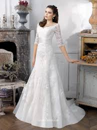 half sleeve lace fit and flare vintage wedding gown with bow