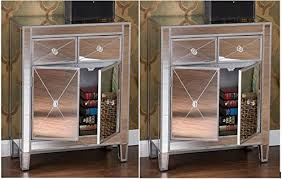 Amazon Set of 2 Mirrored Hollywood Glam Dresser Bedroom Chest