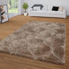 hochflor teppich wohnzimmer braun beige shaggy flauschig