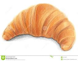 Tasty Croissant Digital Drawn On White Background Royalty Free Illustration