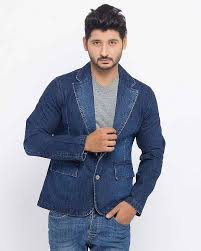 Latest Denim Blue Winter Casual Coats For Men In Pakistan 2018