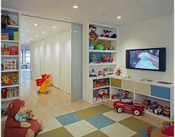 Modern sliding doors section off the play room yet allow light at