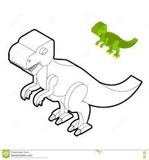 Livre De Coloriage De Tyrannosaure Style Isométrique De Dinosaure