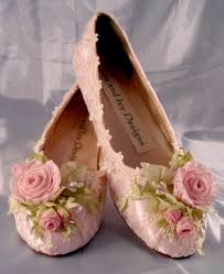 Lace and Roses Pink Rose Balet Slippers Flats Garden Woodland