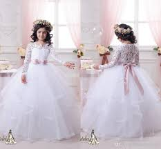 vintage lace long sleeves flower girls dresses ball gown tutu 2015