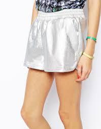 jaded london embossed metallic shorts in metallic lyst
