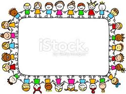 Multi Ethnic Children Holding Hands With Empy Banner Cartoon Illustration Royalty Free Stock Vector Art