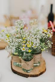 Flowers Tischdeko Rustic Mason Jars Daisy