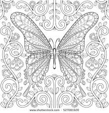 Adult Coloring Book With Butterfly In Flowers Pages Zentangle Vector Illustration For Art Therapy